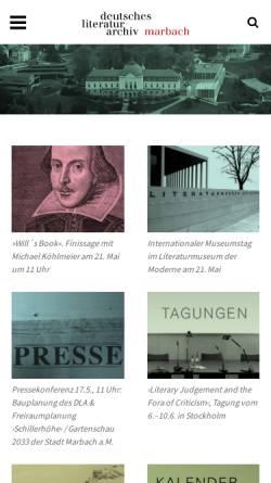 Vorschau der mobilen Webseite www.dla-marbach.de, Deutsches Literaturarchiv