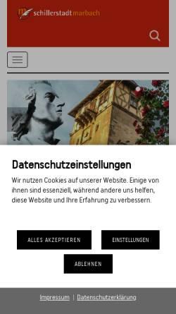 Vorschau der mobilen Webseite www.schillerstadt-marbach.de, Schillerstadt Marbach