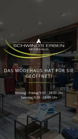 Vorschau der mobilen Webseite www.modehaus-schwind.de, Modehaus Schwind's Erben