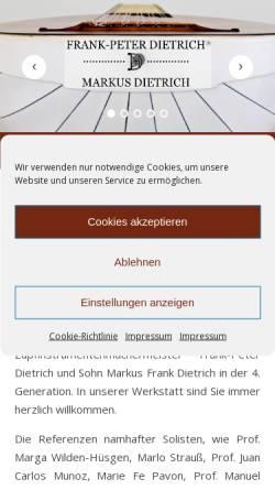 Vorschau der mobilen Webseite www.gitarre-laute.de, Meisterwerkstatt Dietrich