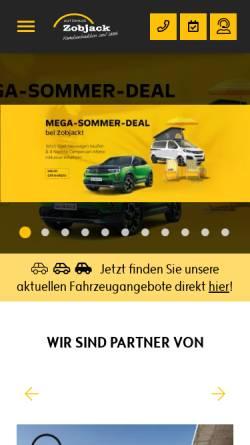 Vorschau der mobilen Webseite www.zobjack.de, Autohaus Zobjack GmbH