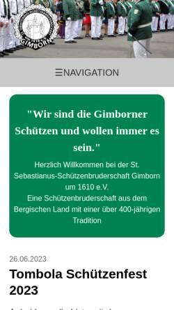 Vorschau der mobilen Webseite www.st-sebastianus-gimborn.de, Sankt Sebastianus-Schützenbruderschaft Gimborn um 1610 e.V.