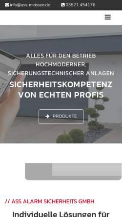 Vorschau der mobilen Webseite www.ass-meissen.de, Alarm Sicherheits GmbH