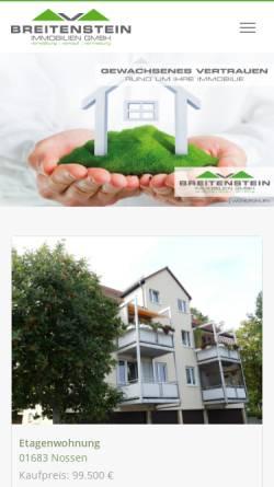 Vorschau der mobilen Webseite www.breitenstein-immobilien.de, Breitenstein Immobilien GmbH