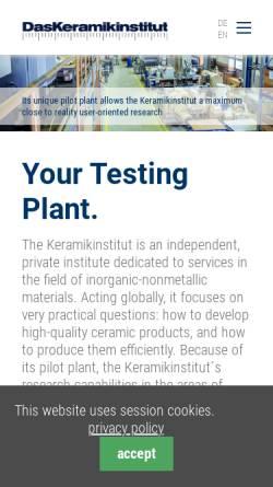 Vorschau der mobilen Webseite www.keramikinstitut.com, Keramikinstitut Meißen