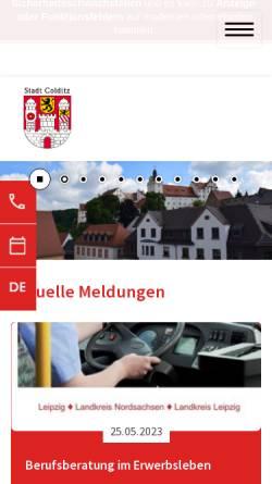 Vorschau der mobilen Webseite www.colditz.de, Stadt Colditz