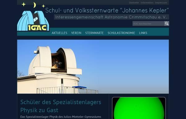 Vorschau von www.sternwarte-crimmitschau.de, Schul- und Volksternwarte Johannes Kepler