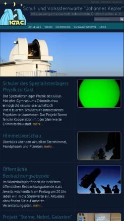 Vorschau der mobilen Webseite www.sternwarte-crimmitschau.de, Schul- und Volksternwarte Johannes Kepler