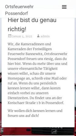 Vorschau der mobilen Webseite www.feuerwehr-possendorf.de, Freiwillige Feuerwehr Possendorf