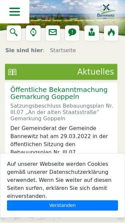 Vorschau der mobilen Webseite www.bannewitz.de, Gemeinde Bannewitz