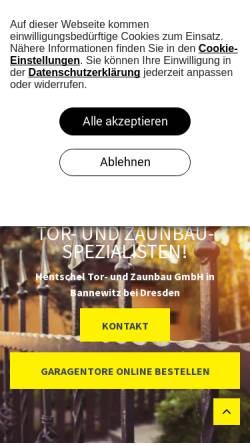 Vorschau der mobilen Webseite www.hentschel-torbau.de, Thomas Hentschel, Torbau und Zaunbau