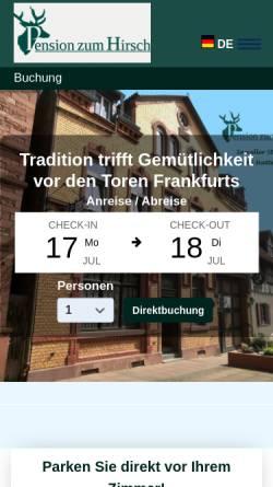 Vorschau der mobilen Webseite www.pensionzumhirsch.de, Pension zum Hirsch