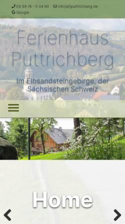 Vorschau der mobilen Webseite www.ferienhaus-puttrichberg.de, Urlaub im Ferienhaus Puttrichberg