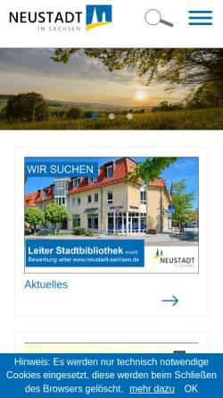 Vorschau der mobilen Webseite www.neustadt-sachsen.de, Neustadt in Sachsen