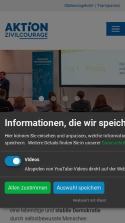 Vorschau der mobilen Webseite www.aktion-zivilcourage.de, Aktion Zivilcourage Pirna