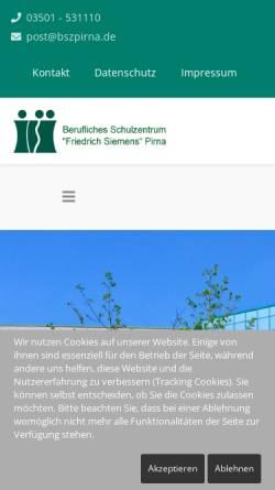 Vorschau der mobilen Webseite www.bszpirna.com, Berufliches Schulzentrum für Wirtschaft