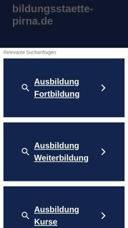 Vorschau der mobilen Webseite www.bildungsstaette-pirna.de, Bildungsstaette für Gesundheit und Soziales Pirna