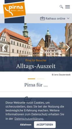 Vorschau der mobilen Webseite www.pirna.de, Stadt Pirna