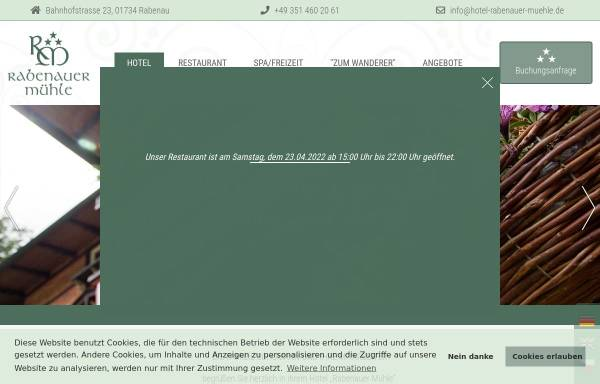 Vorschau von www.hotel-rabenauer-muehle.de, Hotel Rabenauer Mühle