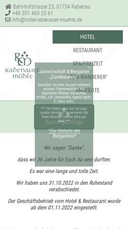 Vorschau der mobilen Webseite www.hotel-rabenauer-muehle.de, Hotel Rabenauer Mühle