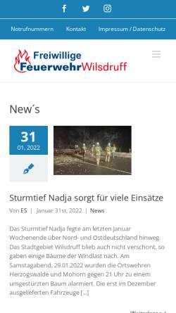 Vorschau der mobilen Webseite www.feuerwehr-wilsdruff.de, Homepage der Freiwilligen Feuerwehr der Stadt Wilsdruff