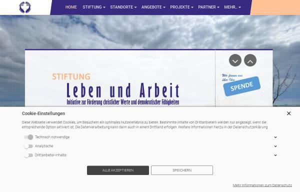 Vorschau von www.leben-und-arbeit.net, Internetsite zur Stiftung Leben und Arbeit