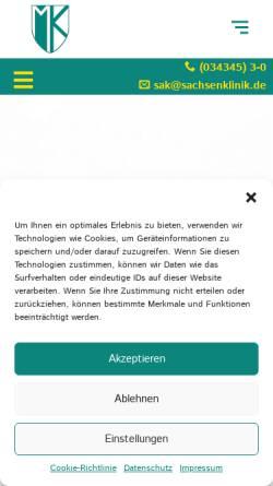 Vorschau der mobilen Webseite www.sachsenklinik.de, Bad Lausick, das Kur- und Heilbad für Ihre Gesundheit