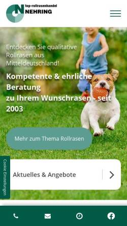 Vorschau der mobilen Webseite www.top-rollrasen.de, TOP - Rollrasen Handel Olaf Nehring