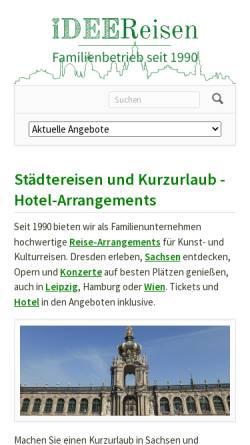 Vorschau der mobilen Webseite dresdenerleben.de, Idee - Reisen