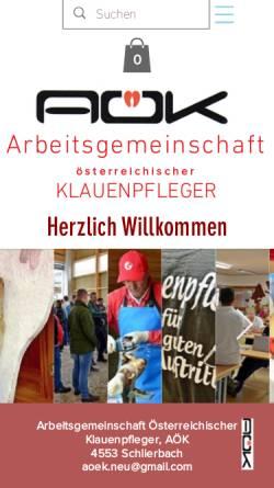 Vorschau der mobilen Webseite www.klauenpflege.at, Österreichisches Zentrum für funktionelle Klauenpflege