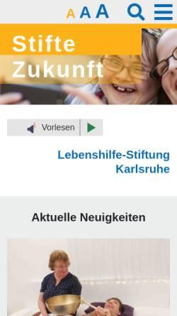 Vorschau der mobilen Webseite stifte-zukunft.de, Lebenshilfe-Stiftung Karlsruhe