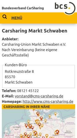 Vorschau der mobilen Webseite carsharing.de, Carsharing-Union Markt Schwaben e.V.