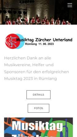 Vorschau der mobilen Webseite www.mvruemlang.ch, Blasorchester Rümlang
