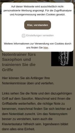 Vorschau der mobilen Webseite notenlernen.net, Notentrainer und Griffe