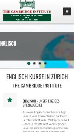 Vorschau der mobilen Webseite www.cambridge.ch, The Cambridge Institute