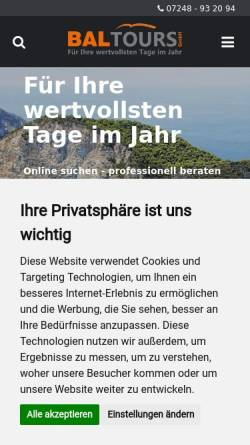 Vorschau der mobilen Webseite www.bal-tours.de, BAL-Tours Germany, Marxzell