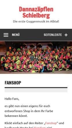 Vorschau der mobilen Webseite www.dannazaepflen-schielberg.de, Guggenmusik Dannazäpflen aus Schielberg