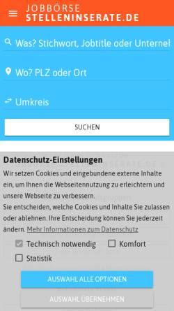 Vorschau der mobilen Webseite stelleninserate.de, Stelleninserate - Janes Agentur GmbH