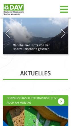 Vorschau der mobilen Webseite www.dav-mannheim.de, DAV Sektion Mannheim