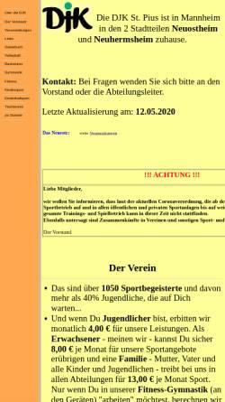 Vorschau der mobilen Webseite www.djk-stpius.de, DJK St. Pius