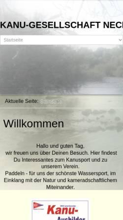 Vorschau der mobilen Webseite www.kgneckarau.de, Kanu-Gesellschaft Neckarau e.V.