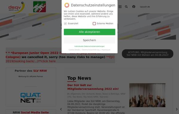Vorschau von nrw.dsqv.de, Squash Landesverband Nordrhein-Westfalen e.V.