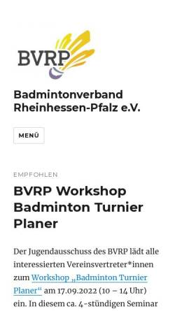 Vorschau der mobilen Webseite badminton-rlp.de, Badmintonverband Rheinhessen-Pfalz e.V.