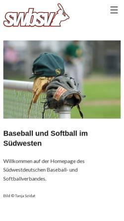 Vorschau der mobilen Webseite www.swbsv.de, Südwestdeutscher Baseball und Softball Verband