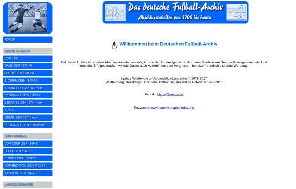Vorschau von www.f-archiv.de, Deutsches Fußball - Archiv