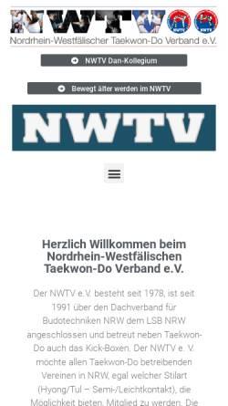 Vorschau der mobilen Webseite www.nwtv.de, Nordrhein-Westfälischer Taekwon-Do Verband e.V. (NWTV)