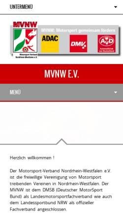 Vorschau der mobilen Webseite www.mvnw.de, Motorsport-Verband Nordrhein-Westfalen (MVNW)