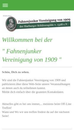 Vorschau der mobilen Webseite www.fahnenjunker.de, Fahnenjunker Vereinigung der Harburger Schützengilde von 1528 e.V.