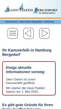 Vorschau der mobilen Webseite www.kanu-hafen.de, Kanu Hafen Bergedorf
