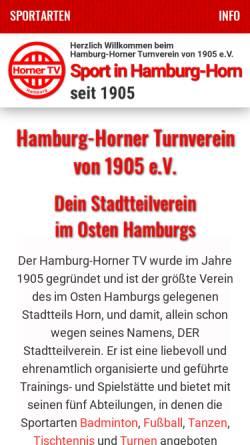 Vorschau der mobilen Webseite www.horner-tv.de, Horner-Turnverein von 1905 e.V.